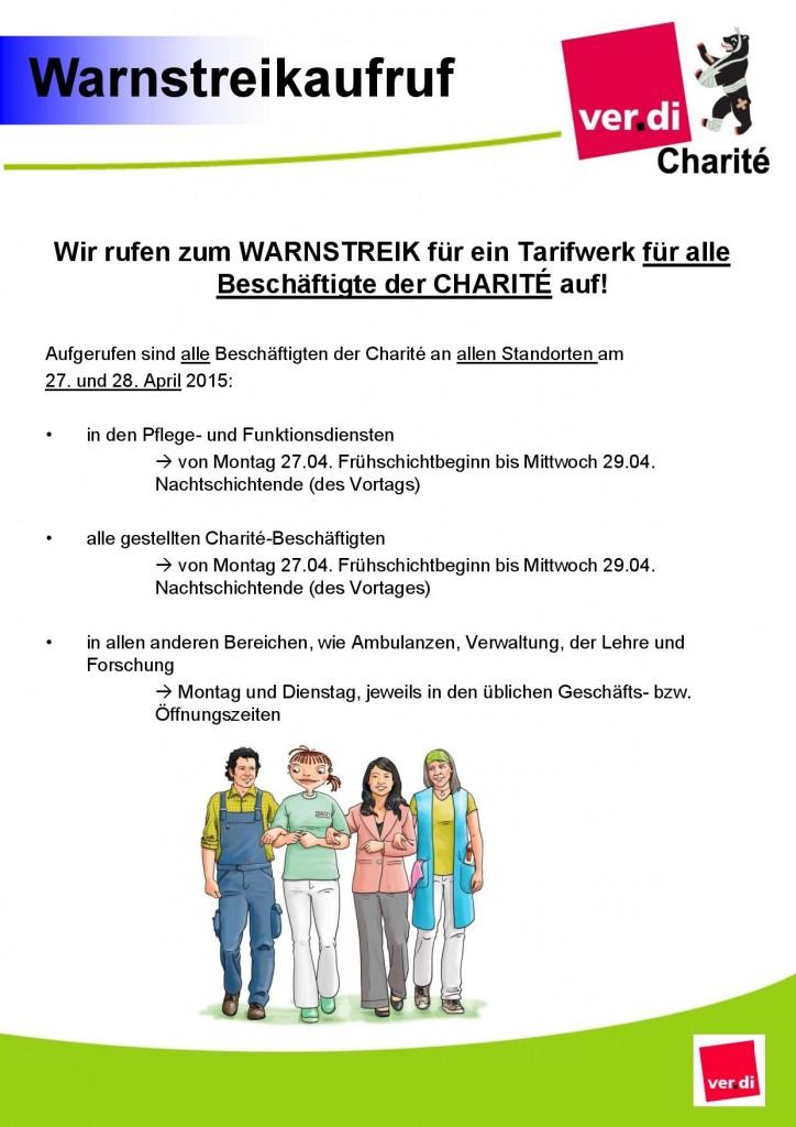 Warnstreikaufruf an der Charité für den 27. und 28. April 2015